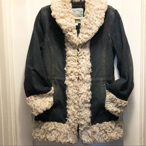 VTG 90s Y2K Denim Penny Lane Furry Coat